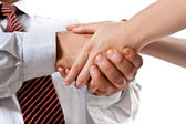 Handshake between a man and a woman — Stock Photo