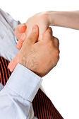 The man's hands wondering woman closeup — Stock Photo