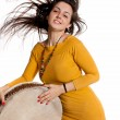 The girl with the tambourine ethnic — Stock Photo