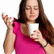Girl with a disposable cup — Stock Photo