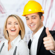 Architects thumbs up — Stock Photo