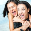 Girls screaming excitement — Foto Stock