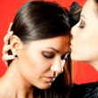 Girls kiss — Stock Photo