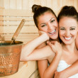Females hugging sauna - Stock Photo