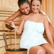 Females joy sauna - Stock Photo