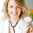 Doctor smiling stethoscope — Stock Photo