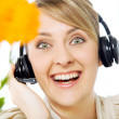 Happy woman headset — Stock Photo
