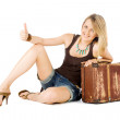 Woman suitcase hitchhiking — Stock Photo
