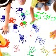 Kids hand prints - Stock Photo