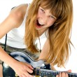 Girl playing the guitar — Stock Photo