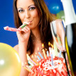 Woman celebrating birthday — Stock Photo