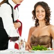 Smiling woman restaurant — Stock Photo