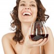 Happy woman red wine — Stock Photo