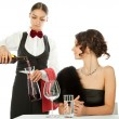 Stock Photo: Decanting wine