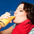 Stock Photo: Wompain throat juice