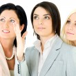 Team businesswomen looking up — Stock Photo