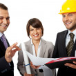 Happy contractor and investors — Stock Photo