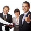 Three businesspeople thumb up — Stock Photo