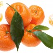 Tangerines with green leaves — Stock Photo