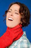 Woman pain strangled throat — Stock Photo