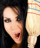 Cara de bruja spooki — Foto de Stock