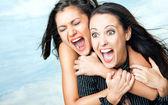 Garotas gritando de emoção — Foto Stock