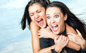 Girls screaming excitement — Stock Photo