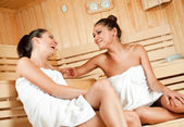 Gossip in sauna — Stock Photo
