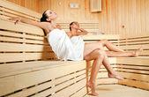 Females in sauna — Stock Photo