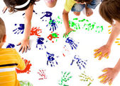 Kids hand prints — Stockfoto