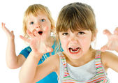 Kids scary faces — Stock Photo