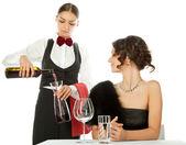 Decanting wine — Stock Photo