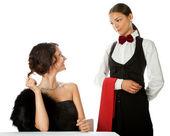 Woman ordering waitress — Stock Photo