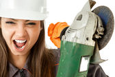 Worker screaming grinder — Stock Photo