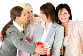 Excitement businesswomen hugging — Stock Photo