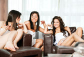 Spa lounge women talking — Stock Photo