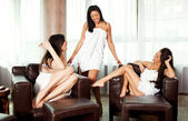 Women laughing spa — Stok fotoğraf