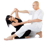 Thai massage stretching — Stock Photo