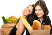 Interactive couple groceries — Stock Photo