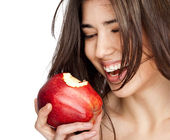 Female red bitten apple — Stock Photo