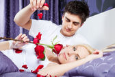 Love romantic couple bed — Stock Photo