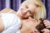 Love couple bed happy — Stock Photo