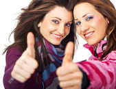 Girls thumbs up — Stock Photo