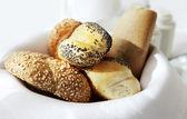 Basket small bread — Stock Photo