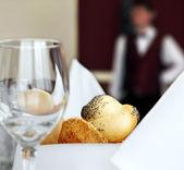 Restaurant hotel table setting — Stock Photo