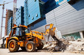 Excavator on a construction site — Stock Photo