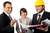 Happy contractor and investors — Stock Photo