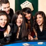 Wining black jack happy group — Stock Photo