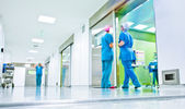 Blurred doctors surgery corridor — Stock Photo