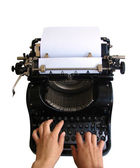 Typing on old typewriter — Stock Photo